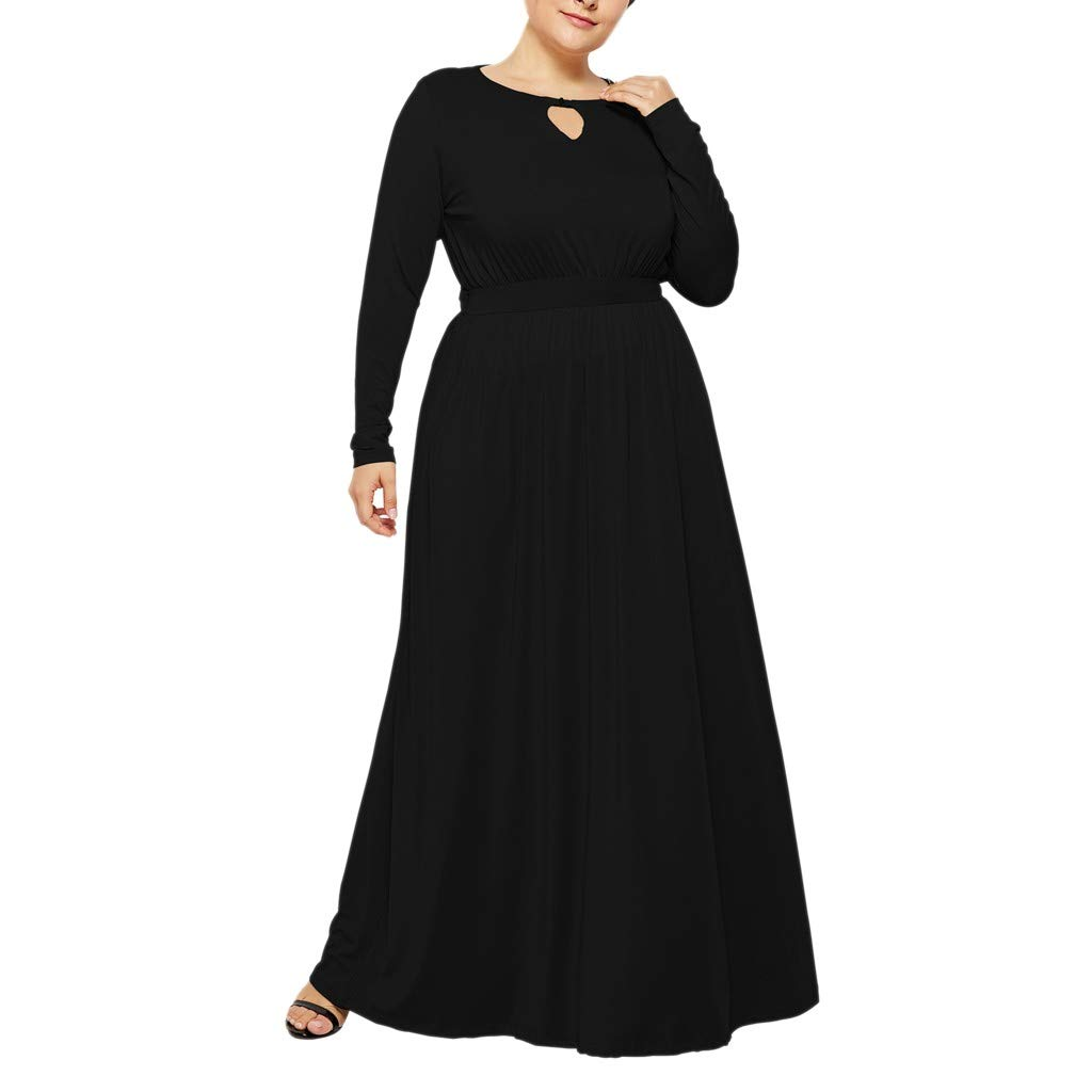 Sttech1 Ladies Sexy Fashion Long Sleeve Chest Opening Bag Hip Plus Size Cocktail Hollow Slim Dress