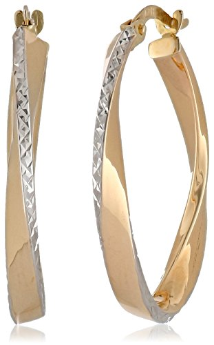 Two Tone Polished Diamond Cut Semi Oval Earrings