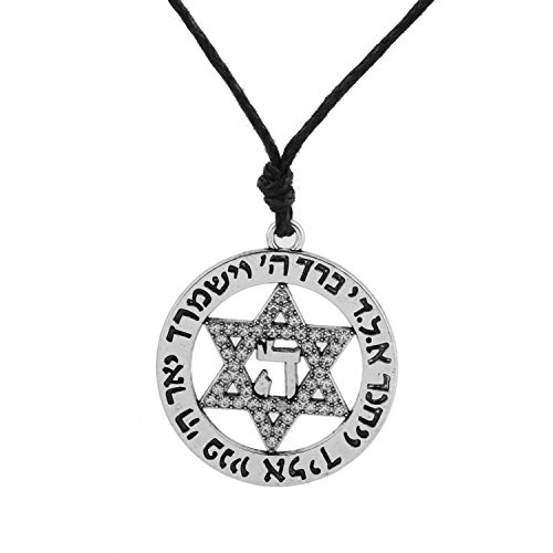 My Shape Fashion Crystal Necklace Jewish Star of David Pendant Necklace Women's Jewelry (Antique Silver) ()