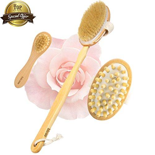 Dry Brushing Body Brush Dry Brush Body Back Scrubber Scratcher Shower Bath Face Brush Gift Set Kit Loofah Brush with Extra Long Handle Wooden Skin Massager for Body Men Women - Long Face Men