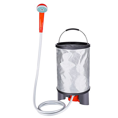 Battery Shower Camp (Baban Portable Outdoor Shower+Collapsible Bucket, Camping Shower Battery Shower Powered Handheld Outdoor Shower Rechargeable Camping Showerhead Turns Water from Bucket/Sink Into Steady, Gentle Stream)