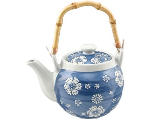 Japanese Oriental Traditional Style Ceramic Teapot with Rattan Handle 35 fl oz Tea Kettle with Stainless Steel Infuser Strainer for Loose Leaf Tea (Sakura)