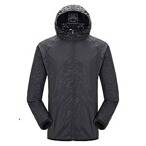 BEESCLOVER Women Man Outdoor Quick Dry Summer Jacket Plus 4XL Camping Running Waterproof Black S