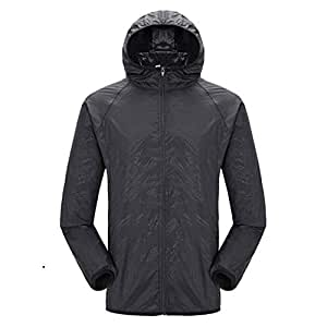 BEESCLOVER Women Man Outdoor Quick Dry Summer Jacket Plus 4XL Camping Running Waterproof Black S