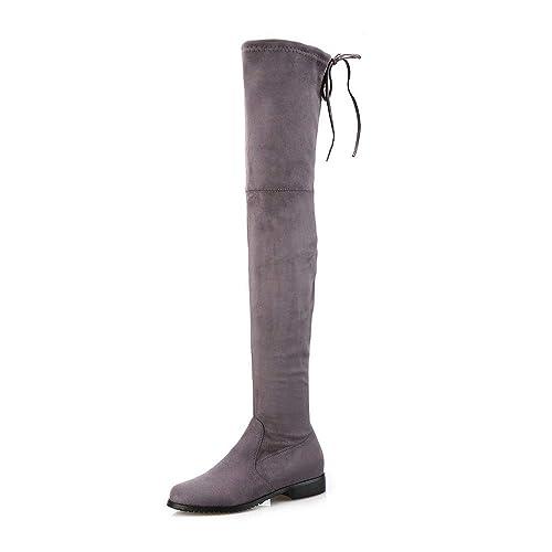 503eef4b0 Botas largas elásticas Planas de tacón Plano Sobre la Rodilla de Mujer   Amazon.es  Zapatos y complementos