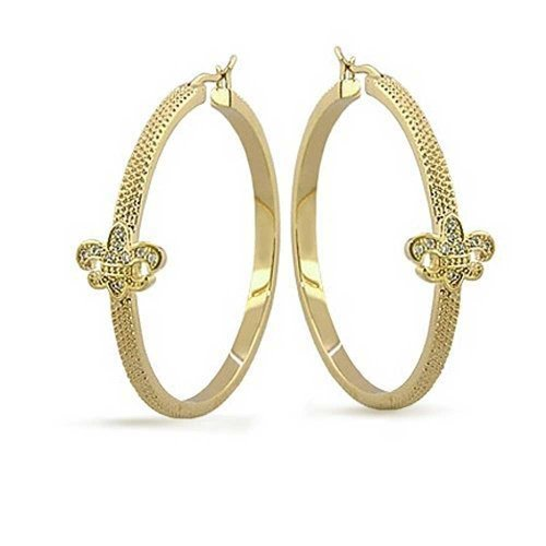 Fleur De Lis Tube Textured Large Hoop Earrings For Women Pave CZ Cubic Zirconia Textured 14K Gold Plated Brass 1.75 Dia