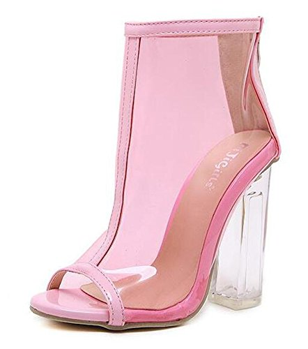 Mofri Women's Fashion Peep Toe High Block Heels Back Zipper Ankle High Clear Booties Sandals (Pink, 4 B(M) US) ()