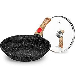 Nonstick Frying Pans Marble Coating Scratch Resistant Dishwasher Safe 100% PFOA Free Round Induction Fry Pan with Lid -9.5 inch - Black