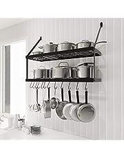 KES Wall Pot Rack 30 Inches 2 Tier Pot and Pan Organizer Rack Pot Hangers For Kitchen With 12 S-Hooks Matte Black, KUR218S75B-BK