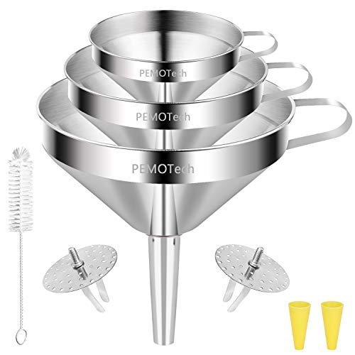 Funnels (6 in 1),PEMOTech Large Stainless Steel Funnel Set 3 Pack (4.1Inch/ 5.0 Inch/ 5.7 Inch) with 2 Pack Removable Strainer for Transferring Liquid, Fluid and Dry Ingredients,Bonus A Cleaning Brush