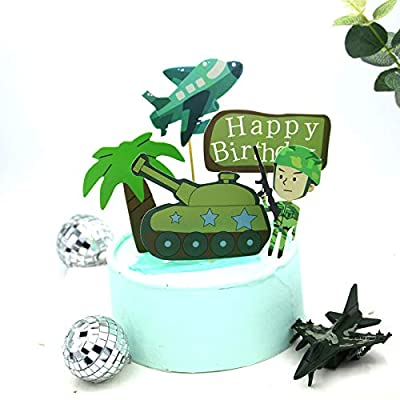 PureArte DIY Happy Birthday Special Forces Army, Navy, Marines, Black Ops Military Deluxe Birthday Cake Decoration Set For Kids Party Decoration Props: Toys & Games