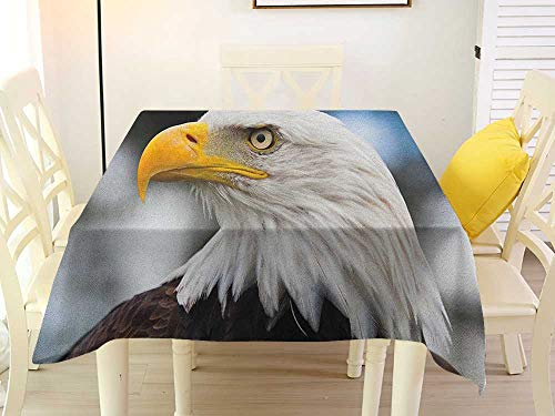 L'sWOW Square Tablecloth Overlay Eagle Photo of The Head of Freedom Symbol in America with Blurred Background Dark Brown Marigold Blue Tablecloth 54 x 54 Inch