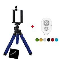xhorizon TM SR Flexible Mini Octopus Style Tripod Stand [Blue] for Smartphone, Camera, Webcam with Bluetooth Wireless Remote Shutter for iPhone Samsung and other IOS/Android Phone -Random color