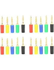 2mm Mixed Colors Banana Plugs Gold Plated Musical Speaker Cable Wire Pin Jack Test Probes Connectors for Amplifier(20 Pcs/Set)