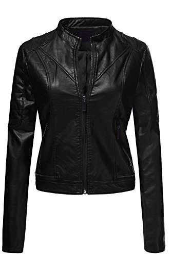 Pu Quilted Moto Biker Faux Leather Jackets  006 Black  Large