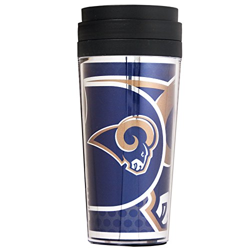 NFL St. Louis Rams Acrylic Travel Tumbler with Metallic Graphics, 16 oz., Black ()