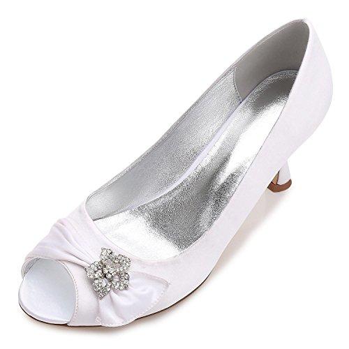 L@YC Zapatos De Boda De Las Mujeres F17061-60 CóModo Vestido De Noche De Invierno Rhinestone abierto Del Dedo Del Pie Y Del SatéN White