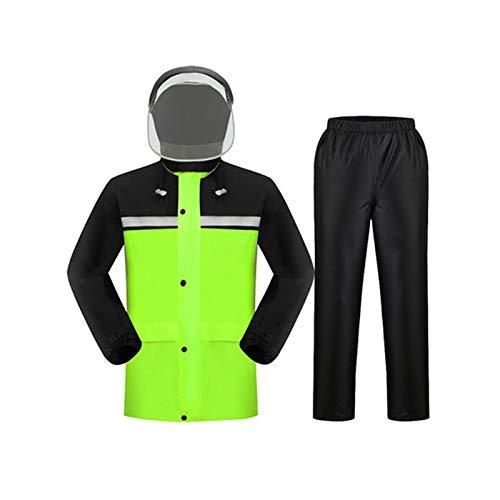 Fluorescent vert (with mask) L WSWJJXB Pantalon de Pluie imperméable Adulte, imperméable pour Homme et Femme, Corps Double imperméable, Double épaisseur, Fibre de Polyester