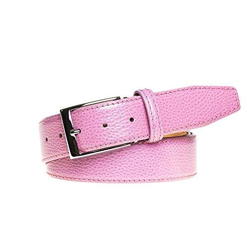 Pink Italian Pebble Leather Belt by Roger Ximenez: Bespoke Maker of Fine Leather Goods