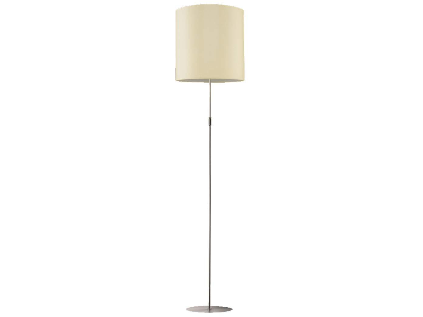 Altura ajustable - Lámpara de pie en níquel mate, pantalla de ...