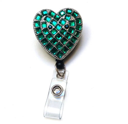 Sparkles! Sparkly Rhinestone Heart Retractable Badge Reel/ ID Badge Holder / Brooch / Pendant / Id Badge Holder (Green)