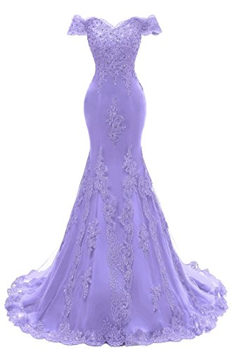 Himoda Women's V Neckline Beaded Evening Gowns Mermaid Lace Prom Dresses Long H074 8 Lilac