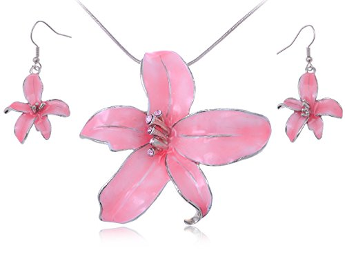 Alilang Silvery Tone Pink Hawaiian Tropical Floral Pendant Necklace Dangle Earrings Set