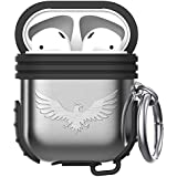 WMINHUI Compatible Airpods Case, Premium Silicone & Metal Dual Layer Cover with Keychain Compatible Apple Airpods Case, Airpods Accessories - Shock Resistant & Protective