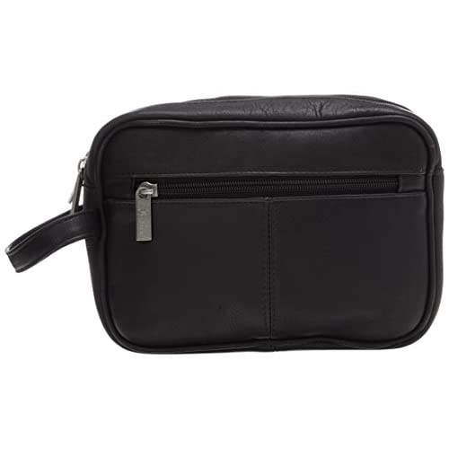 Royce Leather Men's Colombian Leather Travel Toiletry Bag, Black