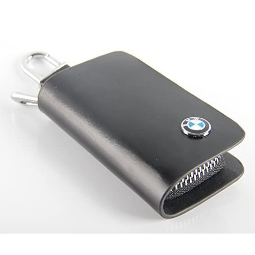 Cheap Black Key chain Bag Genuine Leather Ring Holder Case Car Auto Coin Universal Remote Smart Key cover Fob Alarm Security Zipper keychain Wallet Bag (BMW)