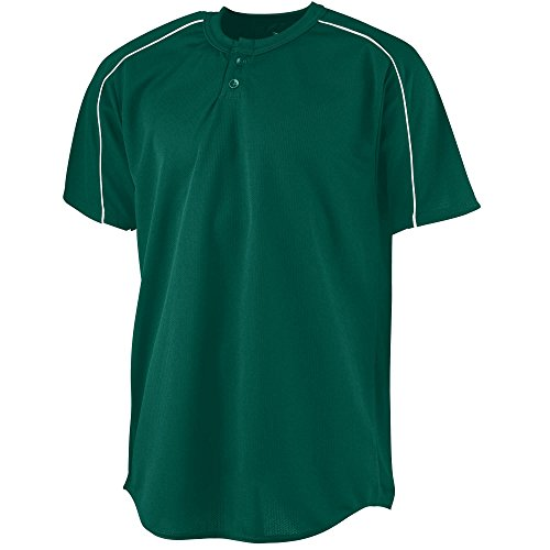 (Augusta Sportswear MEN'S WICKING TWO-BUTTON BASEBALL JERSEY 3XL Dark Green/White)