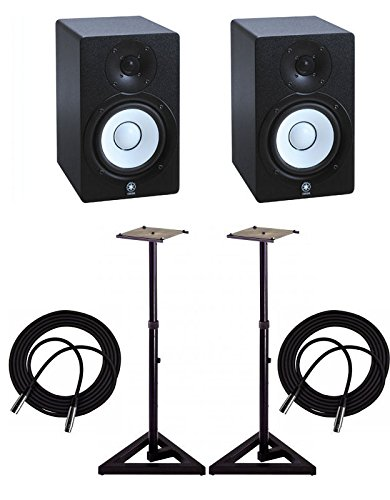 Yamaha HS5 Active Monitors (Pair) with TRS XLR-Male Cables and Speaker (Yamaha Powered Speakers)