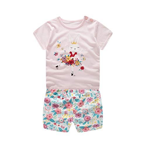 Rakkiss Girls Solid Outfits Set Letter T-Shirt Stars Print Pants Soft Pajamas Comfortable Tops Romper Jumpsuit Pink ()