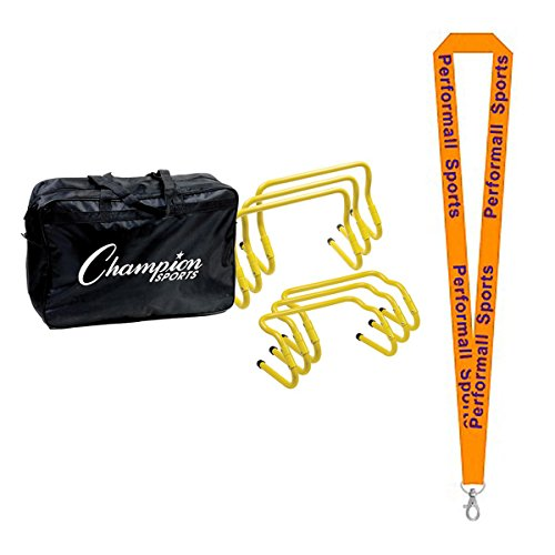 Champion Sports Adjustable Hurdle Kit Yellow (Set of 6) Bundle with 1 Performall Lanyard AHKIT-1P by Champion Sports