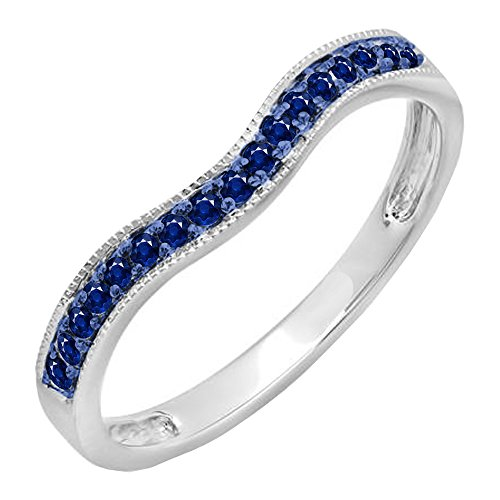 Anniversary Guard Ring - Dazzlingrock Collection 0.15 Carat (ctw) 10K Blue Sapphire Ladies Anniversary Wedding Band Guard Ring, White Gold, Size 8