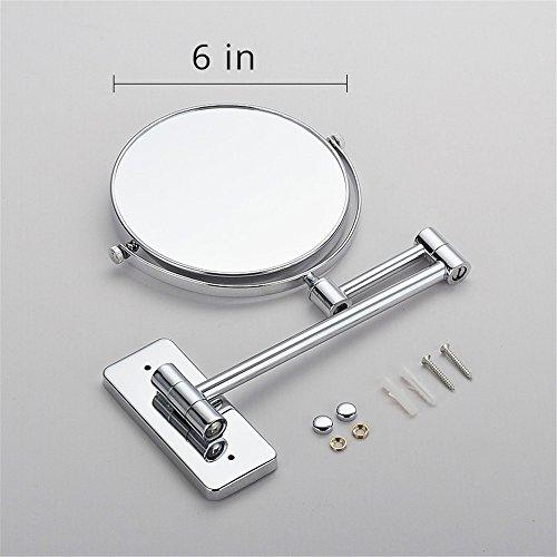 GF Wood 6 Inch Bath Mirror Cosmetic Mirror 1X/3X Magnification Wall Mounted Adjustable Dual Arm Extend 2-Face Bathroom (Spiegel Runden)