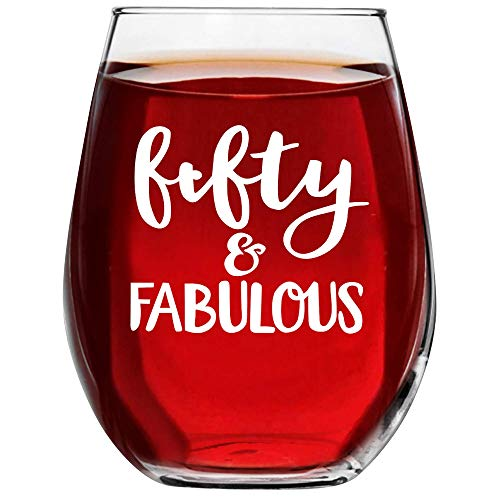 50 and Fabulous Wine Glass Turning 5oth Birthday Gifts for Women fifty year old Novelty Idea With Prime by Mugish -