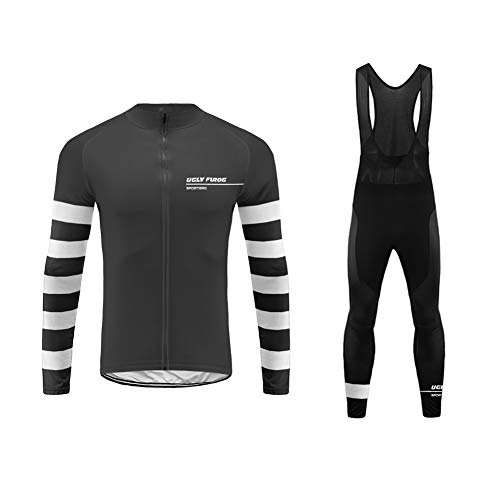 Uglyfrog Mens Cycling MTB Jersey Long Sleeve Thermal Fleece Full Zipper Lightweight & Breathable Winter Warm Cold Wear Suit with Long Bib Tight Sets MTB Mountain Bike Running Spors and Outdoor Wear