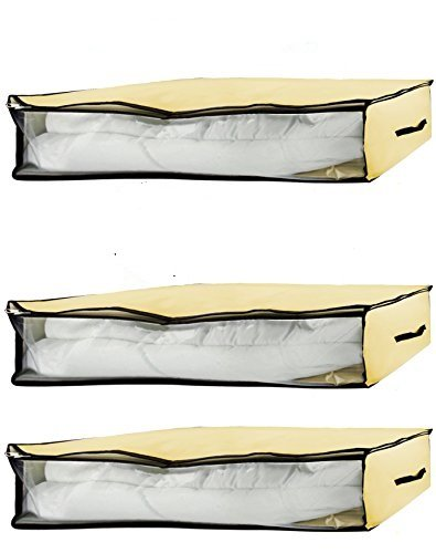 Profile Bed Low Set ((Set of 3) Under Bed Storage Organizer Low Profile Canvas Storage Box, Blanket Bag, Organizer Box with Zipper and 2 Handles, See-Through Front Window, Size:40'' x 20'' x 6'')