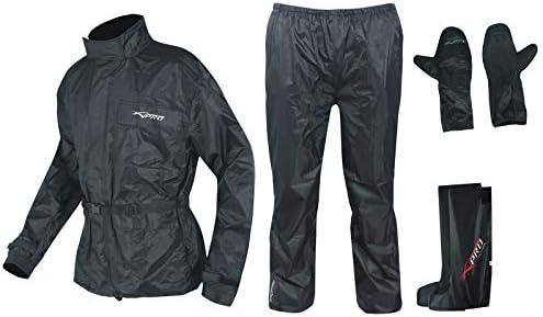 Impermeable Rainsuit Pantalon Chaqueta Guantes Botas Moto Traje lluvia Negro M
