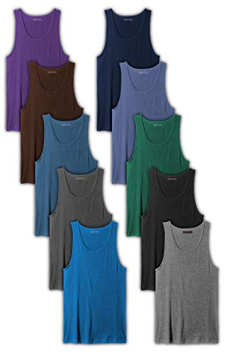 (Andrew Scott Men's 10-Pack Color A Shirt Tank Top Undershirts (10 Pack- Assorted Color Pack 1, X-Large))
