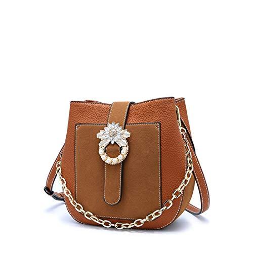 Slung Perle Les Anneau color Sac Seau Boucle Brown Pour Main Vintage À Épaule Femmes Strass Portable Ardillon Brown Sakuldes wx60I0
