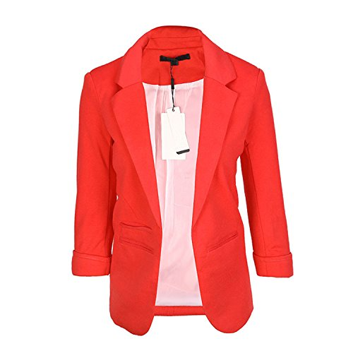 JIANGTAOLANG Women Slim Fit Blazer Jackets Notched Office Work Open Front Candy Color Blazer Wine Red M