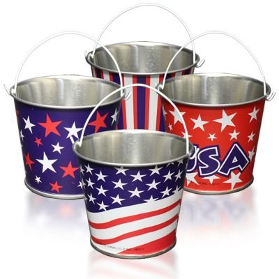 - Lot of 12 Assorted Patriotic Theme Mini Metal Bucket Party Favors by US Toy