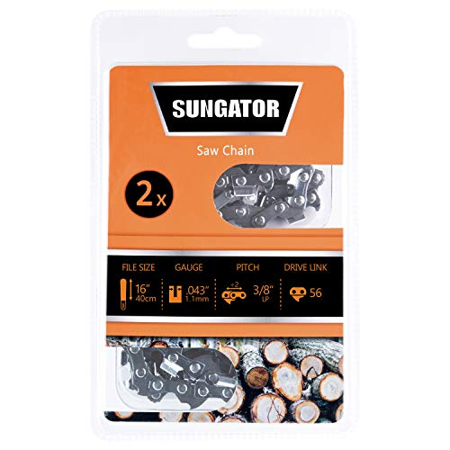 SUNGATOR 2-Pack 16 Inch Chainsaw Chain SG-R56, 3/8