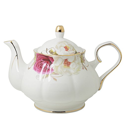 Jomop Pottery Teapot Cool Gift For Tea Lovers Handmade Ceramic Teapot (Dark red) (Gold Teapot Porcelain)
