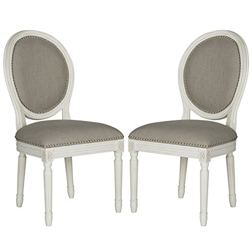 Safavieh Home Collection Holloway French Brasserie Light Grey Linen & Cream Oval Side Chair (Set of 2), 19