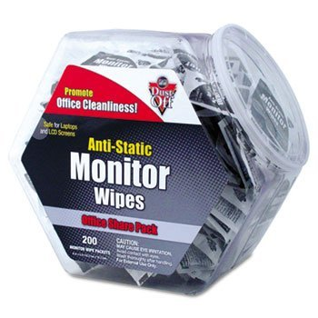 Dust-Off Antistatic Monitor Wipes-Office Share Pack, 5 x 6, 200 Individual Foil Packets