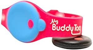 My Buddy Tag with Silicone Wristband, Pink