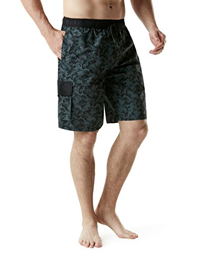 - TSLA Men's 11 Inches Swimtrunks Quick Dry Water Beach, Graphic(msb03) - Camo Black, 3X-Large